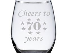 This Cheers to 50 Years design is available in a stemmed or stemless wine glass or an etched rocks glass. Perfect 50th birthday gift for a woman or 50th gift for a man. These glasses make a great gift idea for that special someone turning 50 or they make great party favors as well!  This listing is for one etched 50th birthday glass - if youd like it printed for a different birthday year - were happy to change it for you! Please see the instructions detailed below…