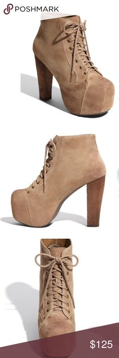 """Jeffrey Campbell 'Lita' Suede Taupe Bootie sz 9 🌟Like new, soles not worn size 9! Very light brushing on suede but to be expected with soft suede. Please see photos🌟 Long laces secure a towering bootie balanced on a covered platform and blocky heel. 4 3/4"""" heel; 2 1/2"""" platform  Approx. boot shaft height: 4"""". Suede upper/synthetic lining/rubber sole                              🌟No trades, thanks for looking! Jeffrey Campbell Shoes Ankle Boots & Booties"""