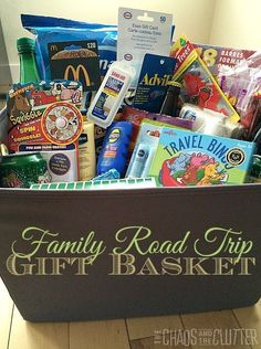 Family Road Trip Gift Basket - what a great gift idea! Gift basket Ideas #giftbasketideas #giftbaskets Theme Baskets, Themed Gift Baskets, Diy Gift Baskets, Christmas Gift Baskets, Basket Gift, Diy Christmas, Travel Gift Baskets, Vacation Gift Basket, Family Gift Baskets