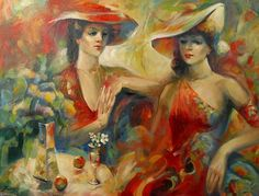 In cafe of the RETR.Oil on... by Anatoliy Rozhansky