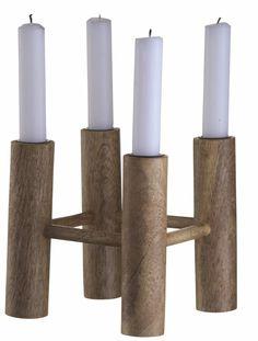 Madam Stoltz Kerzenständer aus Holz für 4 Kerzen, braun, 14x14x14cm