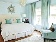 Pale blue bedroom ideas- love this.....