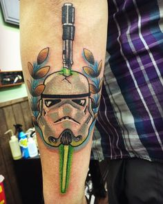 Most Memorable Star Wars Tattoo War Tattoo, Star Wars Tattoo, Line Tattoos, Tatoos, Stormtrooper Tattoo, Trash Polka, Nerd Love, The Force Is Strong, Second Skin