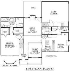 House Plan 2727-C Fairfield C first floor - Traditional 2-story with 2-story Foyer and Great Room 4 Bedrooms with Master suite downstairs Optional Bay window in Master Optional Loft space - 2 Optional Bonus Rooms Open Kitchen and Morning Room with fireplace