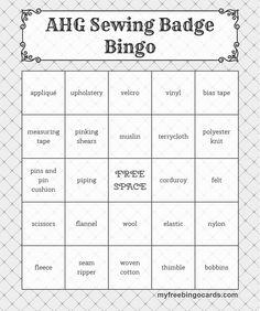 AHG Sewing Badge Bingo