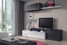 COMPOSICION TV DE 200cm DE ANCHO MODELO NEXO COLOR BLANCO BRILLO Y GRIS CENIZA COMPUESTO POR: 1 Mueble alto con 1 puerta de cristal. 1 Estante. 1 Mesa TV con 2 puertas. #mke #mueblekitespaña #composicióntv #tv #muebletv #mueble #tienda #tiendaonline #nexo