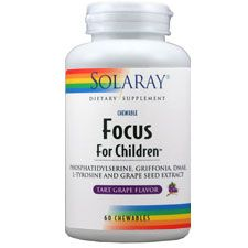 Focus for Children by Solaray is formulated with natural ingredients to promote healthy brain cell function and cerebral circulation.