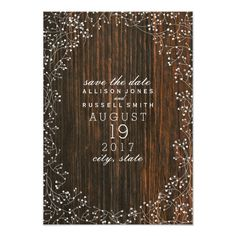 Baby's Breath Barn Wood Save The Date Card