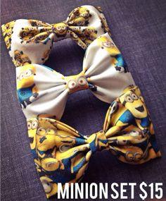 Minion fabric bow tie hair bow set  by Bowliciousdivas on Etsy, $15.00