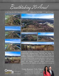 #NEWLISTING  Breathtaking 20-Acres Overlooking Stunning Views of Puget Sound,Olympic Mountains,Skagit Valley,San Juan Islands and Gorgeous Sunsets.This Opportunity comes with a Pre-Approved Preliminary Application for a 5-Lot Rural Cluster Subdivision.Build your dream homes on these secluded and private wooded setting in this quiet area of Stanwood.Near Lake Ketchum with public boat launch and fishing  Contact Linda Bejarano & Toby Parker MLS # 1270467 http://3270676thavenw.c21.com/