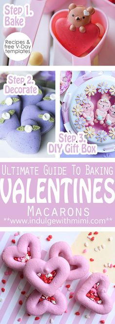 Ultimate Guide to Baking Macarons for Valentine's Day. Includes recipes, free templates and instructions for a DIY gift box.