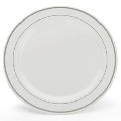 Simcha Chinalike 10 inch Plastic Plate White/Silver/Case of 120 White Plastic Plates, Disposable Plastic Plates, Wedding Dinner Plates, Plastic Dinnerware, Plates For Sale, Plates And Bowls, Plate Sets, Parfait, Crock Pot