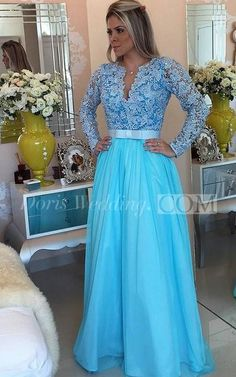 A-Line/Princess Long Sleeves V-neck Tulle Applique Floor-Length Dresses