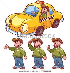 Taxi driver and car on a white background. Vector clip-art illustration.