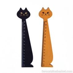 Regla de Madera Negra Gato - TWO CATS IN A BASKET