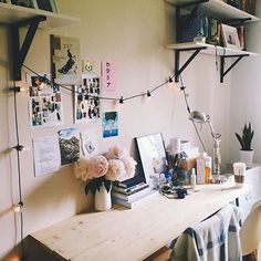 Workspace with fairy lights // via @workspacegoals on Instagram