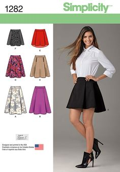 S1282 Misses' Skirt with Length & Trim Variations