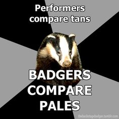 """Backstage Badger"" Performers compare tans, badgers compare pales."