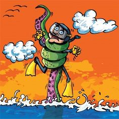 Cartoon diver attacked by tentacle coming out of the water Stock Photo - 9290245