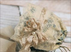 Newborn Bonnet for Baby Girl Photo Prop Couture newborn hat Crinkled ribbon  flower and lace accents 754be65d1834
