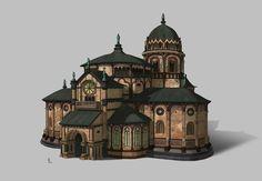 Romanesque Catholic church, yeonji Rhee on ArtStation Fantasy Village, Fantasy City, Fantasy Castle, Fantasy House, Building Concept, Building Art, Building Design, Architecture Antique, Art And Architecture