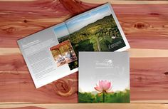 Brochure that explains details about Brookhaven Retreat - a women's rehab center for women, including group and individual therapy, equine therapy, ropes course and more. Printed on linen paper designed by Minava Design ©2016.