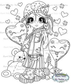 My Besties, Sherri Baldy, Valentines, sweet lil things, digi stamps Dover Coloring Pages, Coloring Books, Homemade Face Paints, Line Art Images, Hobbit Art, Creation Art, Printable Adult Coloring Pages, Face Painting Designs, Country Art