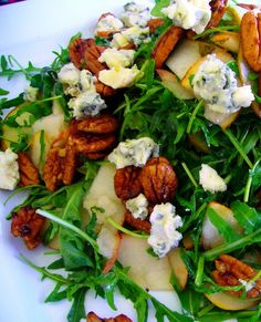 Pear and Rocket Salad with Spicy Glazed Pecans, Blue Cheese, Walnut Raspberry Vinaigrette