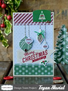 Scrapbook Christmas card - using Carta Bella Paper's So This is Christmas