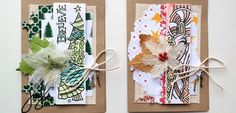 Colorful and festive Christmas cards with Tattered Angels' Tangled Elements paper!