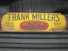 Early Old 1920s Vintage Frank Miller's Auto Oil Tin Litho Non Porcelain Sign | eBay