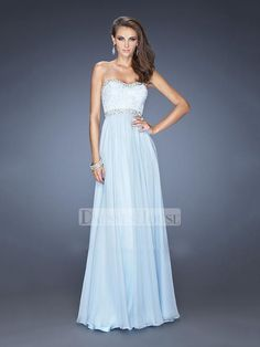 Elegant A-line Sweetheart Beadings Lace Chiffon Prom Dress PD11730