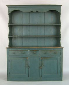 New England painted pine pewter cupboard, ca. the top section with scalloped sides, the lower with 3 drawers and 2 doors, retaining an old blue painted surface Colonial Furniture, Primitive Furniture, Country Furniture, Find Furniture, Country Decor, Furniture Makeover, Antique Furniture, Furniture Design, Diy Furniture Restoration