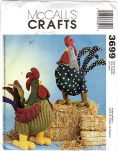 Stuffed Rooster Doll Pattern McCall's Crafts 3699 by JeaniesShop