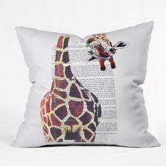 Coco de Paris Funny Giraffe Throw Pillow   DENY Designs Home Accessories