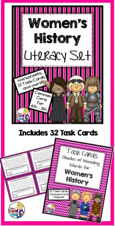 The Women's History Literacy Set is an 86 page set filled with Common Core reading and writing activities that work well with 4th - 5th graders. Not only are there 32 Shades of Meaning Vocabulary Task Cards, but there are worksheets that target Close Reading, Main Idea, Citing Evidence, Cause and Effect, Inferences Using Informational Text, Point of View Using Informational Text, Context Clues, and Figurative Language. There is also a poetry activity and a timeline activity for the computer…
