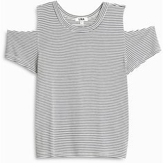 LNA Stripe Cut out Shoulder T Shirt (€93) ❤ liked on Polyvore featuring tops, t-shirts, cold shoulder t shirt, white stripes t shirt, stripe tee, crew neck tee and cold shoulder tee