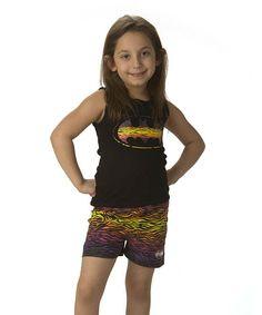 Black & Yellow Batgirl Tank & Shorts - Girls by Intimo #zulily #zulilyfinds