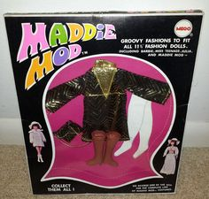 Including Barbie, Miss Teenage, Julia, and Maddie Mod. Box shows some wear but is in surprisingly good condition, much more so than the other Maddie Mods i have listed! Groovy Fashions to Fit all 11.5 Fashion Dolls.