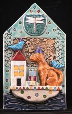 Ceramic Tile Dog on Party Boat by tilebyfire on Etsy