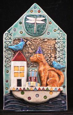 Ceramic Tile Dog on Party Boat by tilebyfire on Etsy
