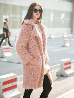 Shop Pink Quality Lapel Long Line Soft Faux Fur Warm Coat from choies.com .Free shipping Worldwide.$69.99