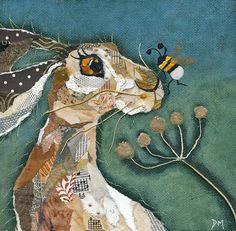 Mounted print of a hare and bee from an original torn painted paper collage… Art Prints, Animal Art, Embroidery Art, Art Projects, Whimsical Art, Fabric Art, Rabbit Art, Bunny Art, Paper Art