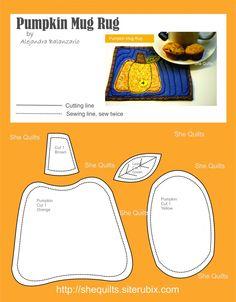 Pumpkin Mug rug, free pattern, ale balanzario