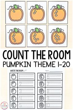 Pumpkin Theme Count the Room Printables This pumpkin theme count the room activity is a fun way to learn numbers and practice counting in preschool and kindergarten. This is perfect for fall math centers or pumpkin theme math centers! Kindergarten Freebies, Kindergarten Centers, Kindergarten Lessons, Kindergarten Classroom, Math Lessons, Math Centers, Primary Classroom, Future Classroom, Classroom Ideas