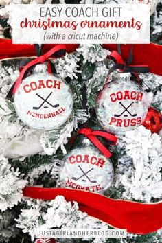 Make these easy coach gift Christmas ornaments with your Cricut or Silhouette machine as a simple and thoughtful (and inexpensive!) holiday present for the favorite coach in your life! | #christmasornaments #ornaments #diyornaments