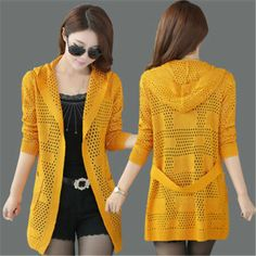 Spring and Autumn new female long section solid knit cardigan sweater Women yards hollow thin shawl hooded sweater coat Cardigan Au Crochet, Cardigan En Maille, Crochet Coat, Crochet Jacket, Crochet Clothes, Long Cardigan, Sweater Cardigan, Knitted Coat, Poncho
