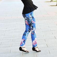 DIY Flower Print Skinny Trousers