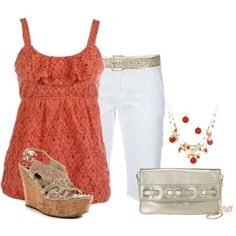 Casual Summer Outfits | Casual Coral Summer Outfit