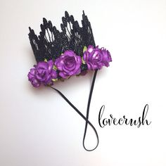 NEW || Halloween|| Sienna crown black with purple roses || lace crown headband|| flowers||photography prop